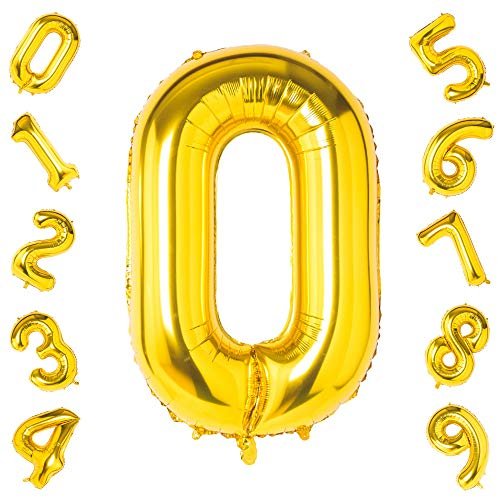 Number 0 Balloons,Birthday Party Decorations Supplies Helium Foil Mylar Digital Balloons (40 Inch Gold Number 0)