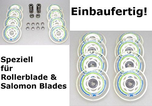 Hyper 8er Superlite 80mm Roller Skate Inliner Blade 8mm Achsefertig montiert - einbauen losfahren - Rolle 80mm + Kugellager ABEC 7 + Spacer 8mm
