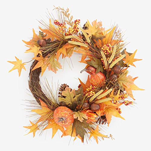 BrylaneHome Harvest Wheat Wreath Fall Maple Leaves Berries Pinecones, Wheat Candles Thanksgiving Decoration, Multi