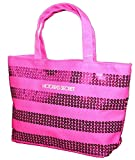 Victoria's Secret MINI Canvas Bling Sequins Hot Pink Purse Tote Handbag