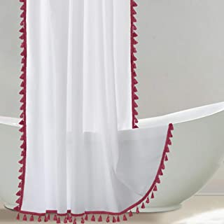 Uphome Tassel Shower Curtain, White Fabric Shower Curtain with Wine Red Fringe Trims, Vintage Boho Chic Cloth Shower Curtains for Bathroom Showers, 60 x 72