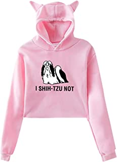 Printed Cool I Shitzu Not Adult Women's Sexy Cat Ear Hoodie Sweater