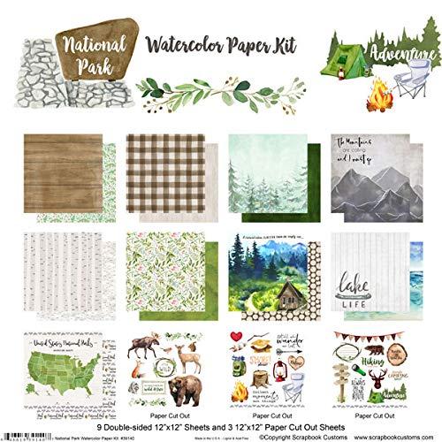 Scrapbook Customs National Park Watercolor Paper Scrapbook Kit, Outdoors Coloring