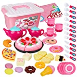 D-FantiX Tea Set for Little Girls, 52Pcs Kids Toy Tea Party Set Pretend Play Tea Time Playset for Toddlers Play Food Toy Afternoon Tea Accessories, Plastic Teapots Teacups Cakes Donuts