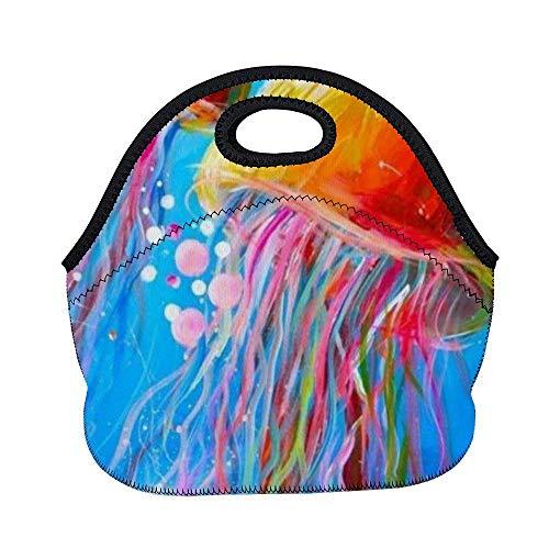 Bolsa almuerzo, bolsa de almuerzo térmica reutilizable gruesa para amantes de las gelatinas, pareja, pintura azul marino, arte, lonchera,