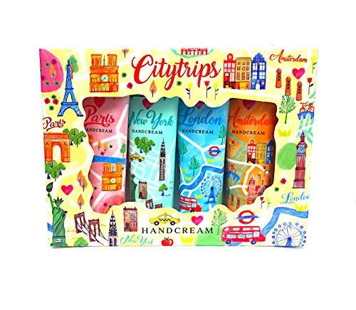 City Trips Handcremes 4 Stück - Paris, New York, Amsterdam, London Geschenk Set Städte Creme