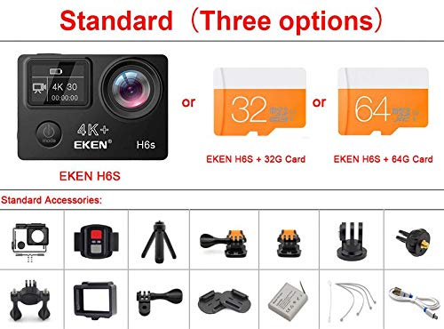 MEISHEXIANG Original H6S Ultra HD Action Camera with Ambarella A12 chip 4k/30fps 1080p/60fps EIS 30M Waterproof Sport Camera,Standard