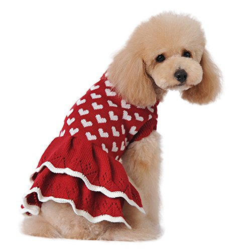 MaruPet Fashion Sweety Puppy Dog Ribbed Knit Sweater Knitwear Round Neck Hearts Printed Classical Twist Doggie Tutu Dress One-Piece for Small to Medium Dog and Cat Red M
