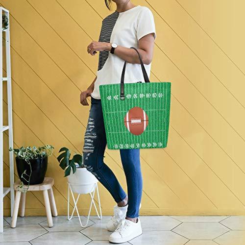 GIGIJY American Sport Football Field and Ball Handtasche groß für Damen Schultertasche Einkaufstasche Organizer Taschen für Frauen mit Griff oben