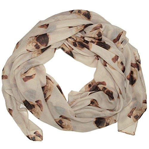 Choisir Tout neuf Couleur ~ Magnifique Carlin Imprimé Pour Femmes Doux Écharpe Enveloppant Pugs écharpes (beige chiens)