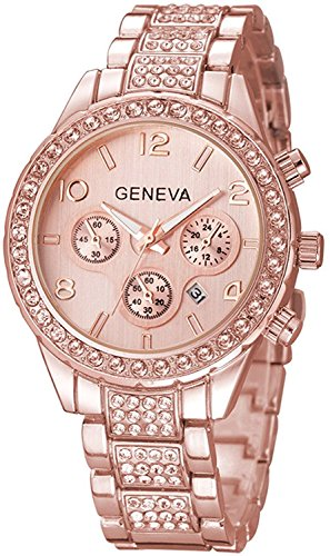 Luxury Unisex Crystal Diamond Watches Quartz Digital Calendar Rose Gold Silver Stainless Steel Watch (Rose Gold)