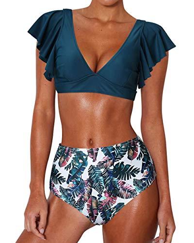 RXRXCOCO Damen Bikini-Oberteil mit Rüschen, V-Ausschnitt, rückenfrei, hohe Taille, Bademode Gr. 40-42, marineblau
