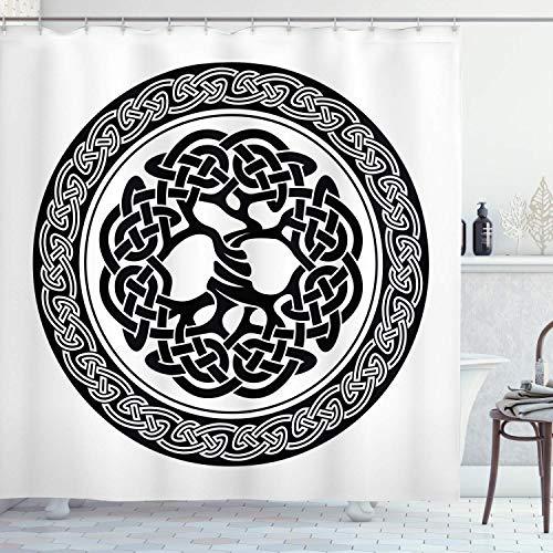 UKSILYHEART Shower Curtain 68x72 Inches Celtic Bath Curtain, Native Celtic Tree of Life Ireland Early Renaissance Modern Design, Polyester Bathroom Decor Set with Hooks White Black For Bathroom