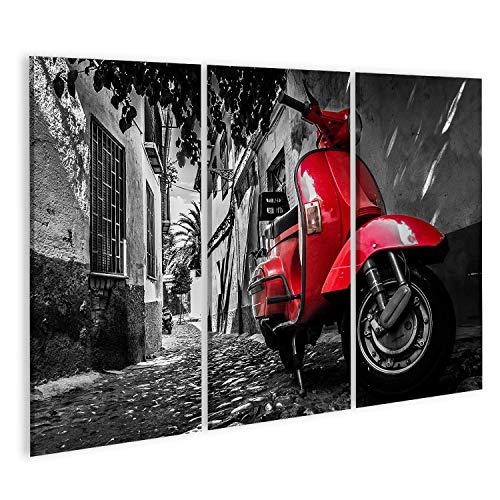 islandburner, Cuadro Cuadros Una Vespa roja estacionada en una Calle pavimentada Impresión Lienzo Formato Grande Cuadros Modernos TIK