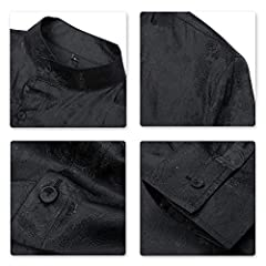 Sliktaa Mens Casual Shirts Fancy Dress Long Sleeve Slim Fit Floral Button Down Wing Collar Steampunk Shirts, M, Black #3