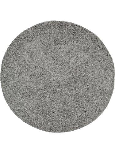 Benuta Shaggy Hochflor Teppich Swirls Durchmesser 80 cm Rund, Kunstfaser, Dunkelgrau, 80 x 80 x 2 cm