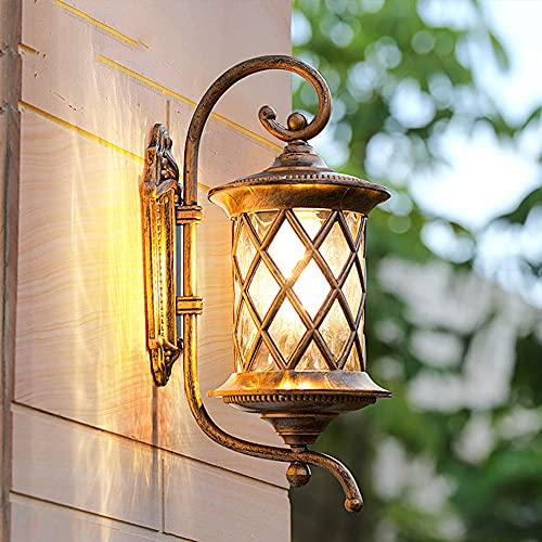 Chao Zan Industrial Vintage Exterior E27 Aplique de pared Aluminio Edison Impermeable IP44 Aplique de pared vidrio Lámpara metal Porche Patio Balcón Jardín Luces Retro Café sala de estar corredor