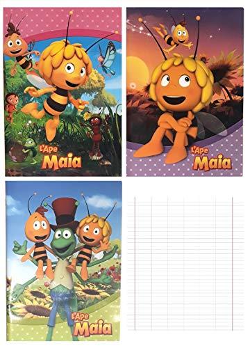 Biene Maja Notizbuch, 3 Stück, Grundschule + gratis Schlüsselanhänger und Pfeife