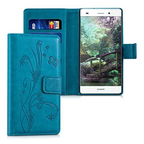 kwmobile Hülle kompatibel mit Huawei P8 Lite (2015) - Kunstleder Wallet Case mit Kartenfächern Stand Ranken Schmetterling Petrol