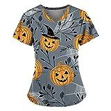 Halloween Kasack Damen Pflege Bunt: mit Motiv Tierdruck T-Shirt Schlupfkasack mit Zwei Taschen Kurzarm V-Ausschnitt Schlupfhemd Berufskleidung Krankenpfleger Uniformen Nurse