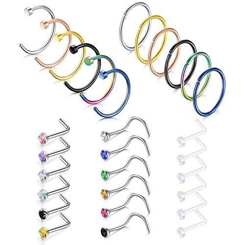 Briana Williams 30pcs 18G Stainless Steel Nose Rings Hoop Nose Studs Screw Rings 8mm Helix Cartilage Tragus Earrings Hoop Piercing