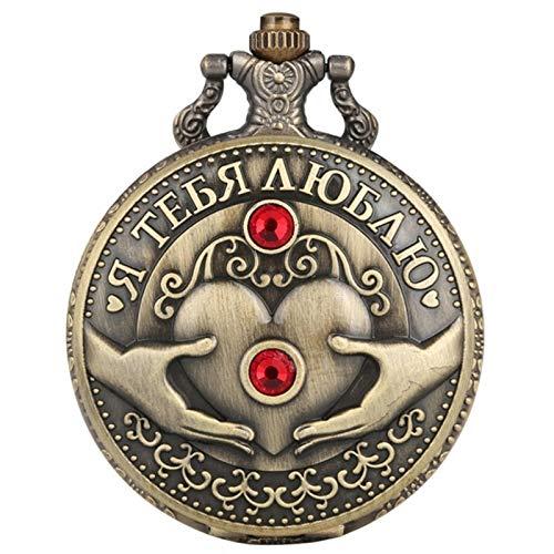 ZMKW Collar de Cuarzo con patrón de Diamante en Relieve Antiguo con corazón de Amor Ruso, Colgante, Collar, Cadena, Regalos románticos, Cadena de 30 cm