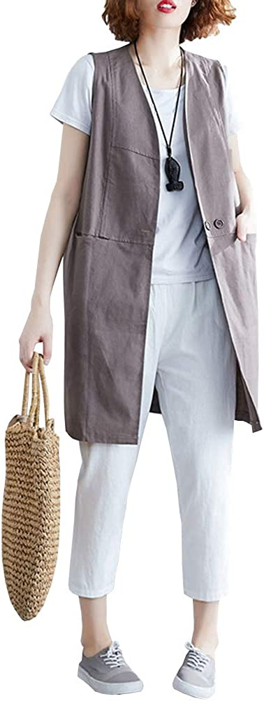 Women's Linen Vest V-Neck Sleeveless Open Front Mid Long Waistcoat with Pockets