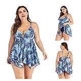AIKES - Bañador de gran tamaño con falda con ventana para mujer, diseño sexy hojas 5XL