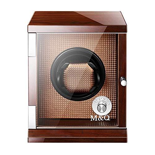 GLXLSBZ Enrollador de Reloj para 1 Reloj Marrón Batería - Caja de Madera Individual silenciosa Caja de Reloj Estuches de Reloj Cajas de Relojes Enrolladores Estuche de Almacenamiento Marrón