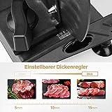 Anescra Allesschneider Elektrisch mit 170mm rostfreies Edelstahlmesser, 0-15mm einstellbare Dicke, abnehmbares Design, Brotschneidemaschine für den Heimgebrauch für Aufschnitt/Käse/Brot/Gemüse, 150W - 3