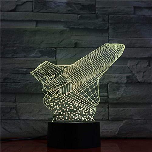 3D Illusion Lamp,Led Night Light Space Shuttle Modell 3D Optische Illusionslampe LED Nachtlicht Jungen Mädchen Spielzeug Baby Schlafzimmer Tischlampe, 16 Farbwechsel Fernbedienung USB Nachttischlampe