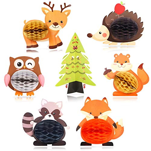 Blulu 7 Pieces Woodland Animals Centerpieces Honeycomb Party Supplies 3D Woodland Creature Themed Birthday Table Decorations for Baby Shower Wedding Theme Party