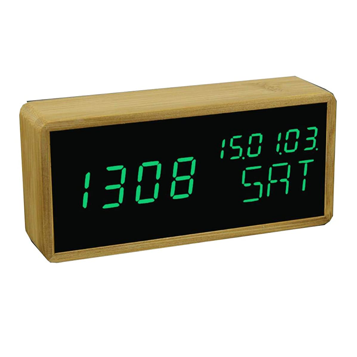 Digital Alarm Clock Adjustable Brightness Voice Control Desk Large Display Time Temperature USB/Battery Powered