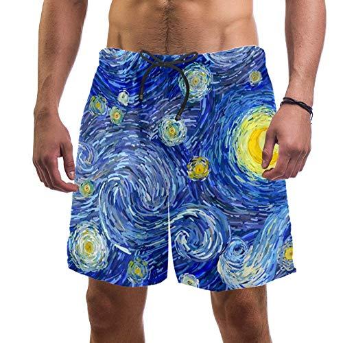 Pantalones cortos de playa para hombre Van Gogh con luna brillante y cielo estrellado, bañador elástico para hombre, L multicolor L
