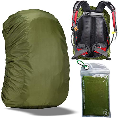 Gryps Waterproof Backpack Cover Rain with Adjustable Anti Slip Buckle Strap & Sliver Coating Reinforced Inner Layer for Camping, Hiking, Traveling, Hunting, Biking and More, 50-60L(Green)