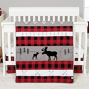 Lumberjack Moose Forest Animal Theme Buffalo Plaid Baby Crib Bedding Sets