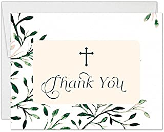 Elegant Boy Girl Baptism Thank You Notecards with Envelopes (Pack of 25) Blank Shabby Chic Christening Thank You Gracias Cards Religious Church Ceremony See Matching Invites Excellent Value VT0098B