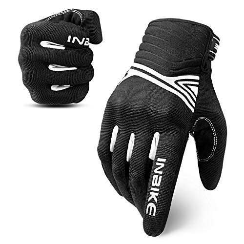 INBIKE Breathable Mesh Motorcycle Gloves Touchscreen With TPR Palm Pad Hard Knuckle Black White Large
