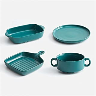 Baking Dish 4 Pack Ceramic Bakeware Set, Ceramic Glaze Baking Dish Set, Baking Pan Set for Cooking, Kitchen,Cake Dinner, B...