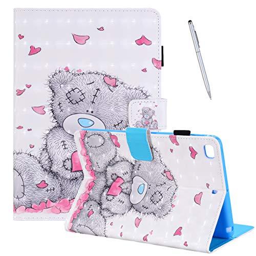Hülle für Apple iPad Mini 5/4/3/2/1 - PU Leder Hülle Tasche Flip Cover Case im Bookstyle Schutzhülle mit Standfunktion Karteneinschub und Magnetverschluß Mehrfachwinkel Etui, Love Panda