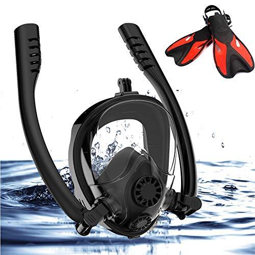 SWM Snorkel Masker, 180° uitzicht snorkelmasker vol gezicht met Verwijderbare Action Camera Mount, Anti-Fog, Anti-Leak, Verstelbaar hoofd Band Ontwerp voor volwassenen of kinderen