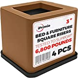 iPrimio Bed and Furniture Square Risers - 3 INCH Rise Size - Wont Crack & Scratch Floors - Heavy Duty Rubber Bottom - Patent Pending - Great for Wood and Carpet Surface (Brown, 4)