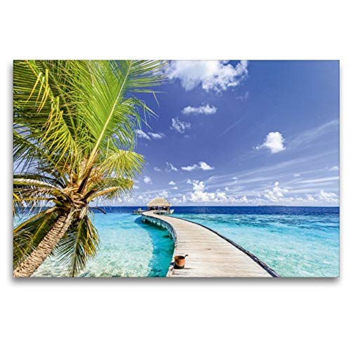 Premium - Lienzo de tela (120 x 80 cm, horizontal), diseño de puente paraíso de la isla Mudhdhoo Maldivas, Océano Índico (CALVENDO);CALVENDO Orte