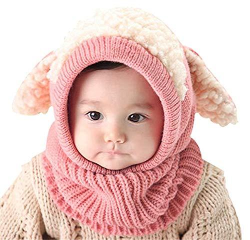 Conjunto de bufandas para bebé, de invierno, cálido, de punto de ganchillo, con orejas y babero cálido para bebés de 6 a 36 meses