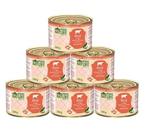 Dehner Fine Nature Hundefutter Adult, Lebensmittelqualität, Rind, 6 x 200 g (1,2 kg)