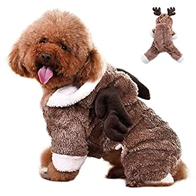 XYDZ Pet Winter Warm Clothing Christmas Dog Elk Reindeer Clothing Thick Coral Fleece Warm Buttons Cute Jumpsuit Hoodie Elk Clothes
