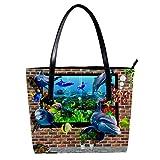 Diseño de pared 3D de peces fuera de acuario de las mujeres, bolso de cuero suave con mango bolsa bolsa bolsa bolsa para el trabajo viaje bolsa mensajero grande