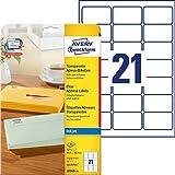 Avery J8560-25 Quickpeel Etichette Trasparenti, 21 Pezzi per Foglio, 25 Fogli, 63.5 x 38.1...