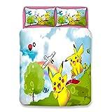 XKNSYMRL Bettlaken 80X200, Pikachu 3D Digitaldruck Bettwäsche Jersey, Premium Polyester Baumwolle...