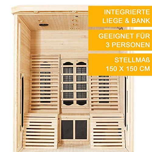 Infrarotkabine Helsinki 150 Keramikstrahler & Hemlockholz | Infrarotsauna mit Relaxliegen für 2 Personen | ArtSauna - 6